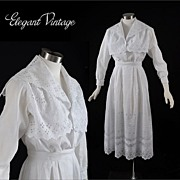 SALE Vintage c1910 Embroidered White 2 pc Dress