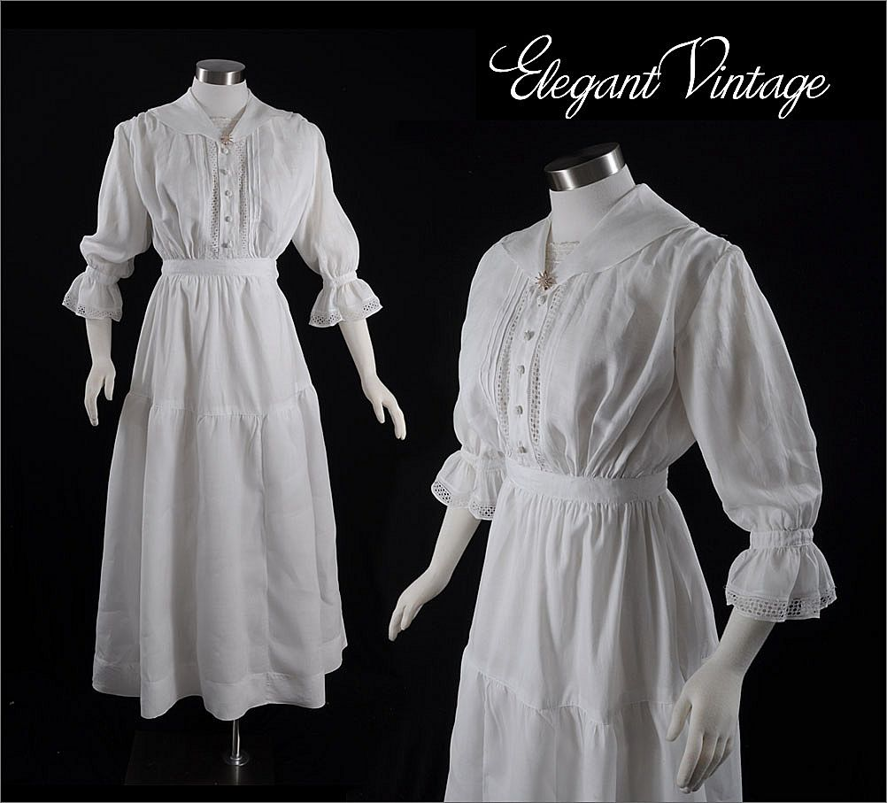 Vintage Victorian C1900 Linen Garden Or Tea Dress From
