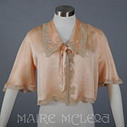 SALE 1930's Silk Charmeuse & Lace Bed Jacket