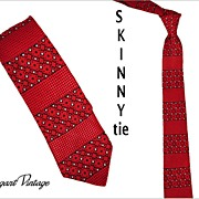 "SALE 1960's Brocade Skinny Tie -  2-1/4""  Red, Black & White"