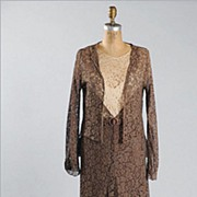 1920's Chocolate French Lace Dress & Jacket  *Sm - Med