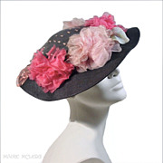SALE 1930's Black Straw Skimmer Hat *Organdy Roses