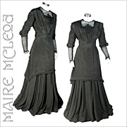 SALE Elegant c1910 Edwardian Silk Dress Gown *S