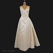 SALE Vintage Ivory Silk Peau de Soie Evening Gown *M