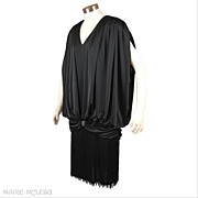 SALE Posh 1980's Fringed Black Cocktail Dress * After Dark * S- M
