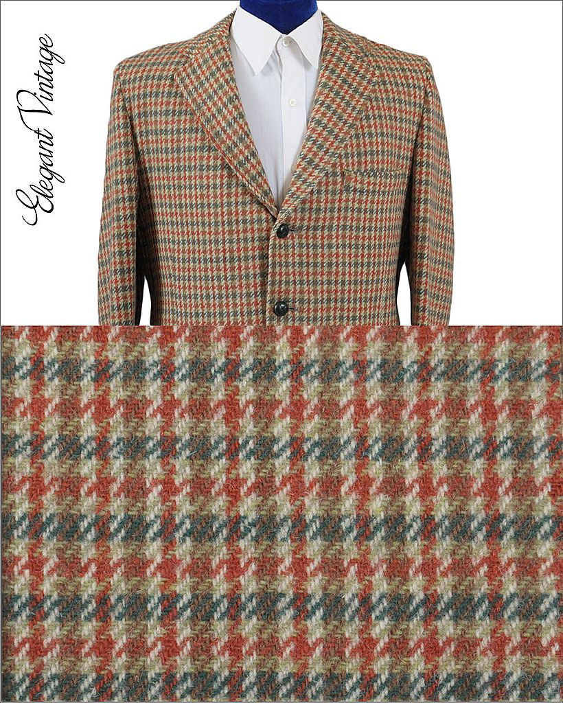 Vintage 60's Harris Tweed Check Men's Sport Coat - 3 Btn *42-44
