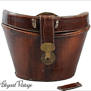 SALE Vintage Top Hat Bucket Case *Alligator Embossed Leather