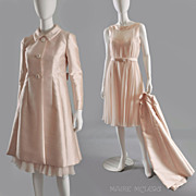 SALE Heavenly 1960's  Malcolm Starr Silk Chiffon Dress & Coat Ensemble