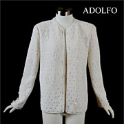 SALE Vintage 70s - 80s ADOLFO Knit Sweater Jacket / Top *Rhinestones, Beads *M
