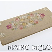 SALE Vintage Silk Floral Embroidery Glove Box