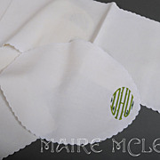SALE 10 pc Monogram White Linen Mats & Runner * DHU