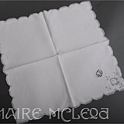 8 Vintage Italian Fine Linen Napkins *Needlelace Monogram