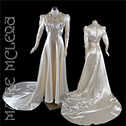 SALE 1940's Candlelight Satin Trained Wedding Gown - Beaded - S