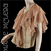 1930's Cascade Silk Chiffon & Lace Blouse Top - S / M
