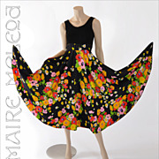 SALE 60s - 70s Dress Floral Circle Skirt  - Bargain Rm - XS