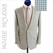 SALE 1960's Men's Tattersall Check Linen Sport Coat - 42 L