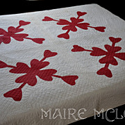 SALE 19th C Red & White Quilt - Heart Applique - Intricate Quilting