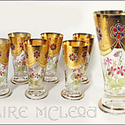 SALE c1900 Jeweled Crystal Tumblers - Set of 6 - Sherry Port