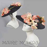 SALE Superb 1950's Cartwheel Hat - Henry Margu - Magnolia Blossoms