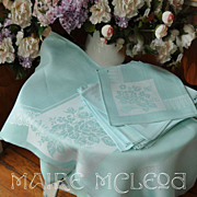 SALE Vintage Duck Egg Blue Linen Damask Tablecloth & 12 Napkins - Rose Bouquet