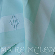 SALE Fine Vintage Linen Damask Duck Egg Blue Napkins - 6 - Triple Monogram
