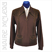 Men's 1970's Zipper Sweater w / Suede Trim - M / L