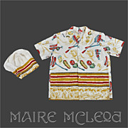 SALE Bar-B-Quer by Pilgrim - Men's Vintage Cabana SHIRT & CHEFS HAT - Rockabilly  M / L
