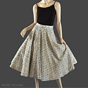SALE 1950's Ivory & Black Lace Circle Skirt w / Rhinestones - S