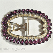 SALE Antique Georgian  Purple & Clear Paste Silver Shoe Buckle