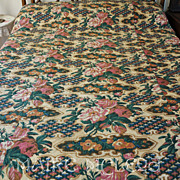 SALE Antique c1850's Roses Pieced Whole Cloth Quilt