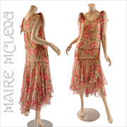 Vintage 1920's Silk Floral Chiffon Dress - Handkerchief Hem - S