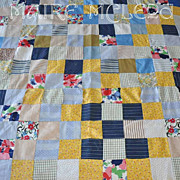 Vintage Patchwork Quilt Top - Child Crib Size - Yellows / Blues