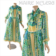 SALE Vintage 1970's Floral Silk Chiffon Dress  S / M