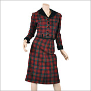 Tartan Plaid 40s-50s Womens Suit w / Velvet Trim XS /  S