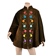 SALE Embroidered Vintage Buckskin Cape 1960's - 1970's