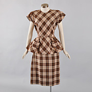 SALE Iconic 1940's Check Plaid 2 pc Dress Suit - S / M