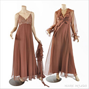 Vtg Jack Bryan Chiffon Maxi Dress & Poet Crop Top - Sequins, Rhinestones