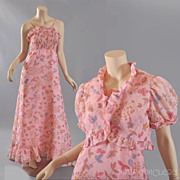 Sally Milgrim 1970's Gauze Floral  Maxi Dress w / Bolero Jacket  S / M