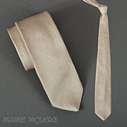 Vintage Men's Tie Metallic Silver Diagonal Stripes 3""