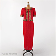 Vintage Red Silk Beaded Columnar Evening Gown - Laurence Kazar