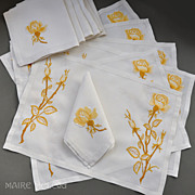 Yellow Roses - Embroidered Vintage Linen 6 Placemats /  Napkins