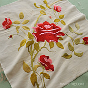 c 1900 Society Silk Embroidered Rose - Very Dimensional