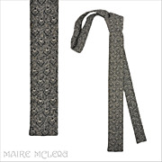 1960's Flat Bottom Skinny Tie, Black/White Weave 1-1/2""