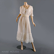 c 1910 Edwardian Tiered Net Lace Tea Dress Gown