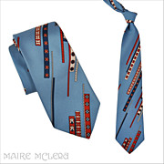 1970's Tie // Vintage 70s Men's Abstract Design Tie - Beau Brummel  4""