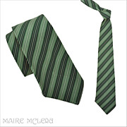 1920's Tie // Vintage 20s Greens Rep Stripe Tie - DG Eldridge  3&quot;