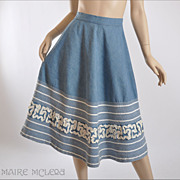 1950's Skirt // Vintage 50s Skirt w / Soutache - Super Cool  S