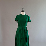 Green silk chiffon pleated NORMAN NORELL cocktail dress