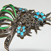 Flower bouquet pin 800 silver, marcasite, and plique a jour enamel signed KM