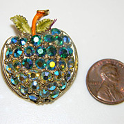 Vintage green AB rhinestone Apple pin with enamel leaves and stem